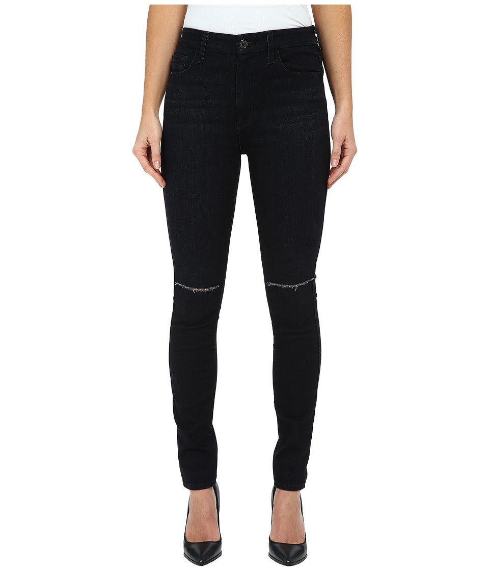 7 For All Mankind - The High Waist Skinny w\/ Knee Slashes in Slim Illusion Rich Noir 2 (Slim Illusion Rich Noir 2) Women's Jeans