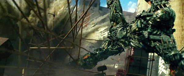 The Decepticon named Lockdown is knocked away by an explosion in TRANSFORMERS: AGE OF EXTINCTION.