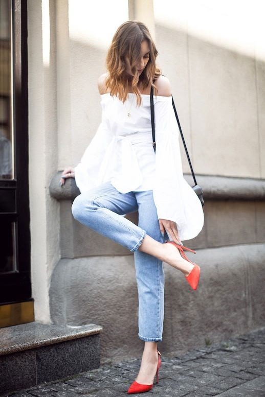 Le Fashion Blog Summer Date Style White Off The Shoulder Blouse With Bell Sleeves And Tie Front Details Black Crossbody Leather Bag Slim Cropped Denim Bright Red Sling Back Pumps Via Fashion Agony