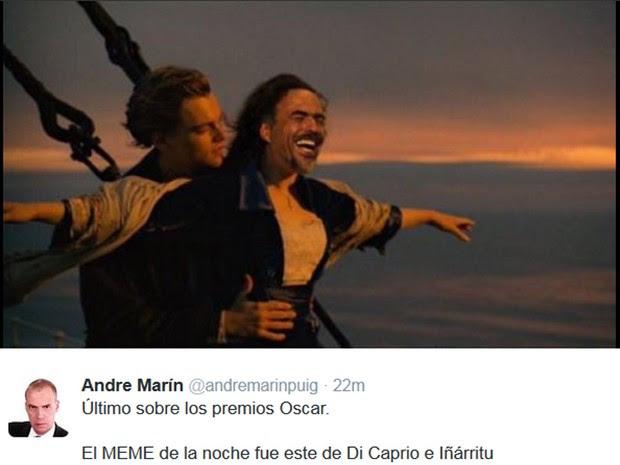 Meme sobre vitória de Leonardo DiCaprio (Foto: Reprodução / Twitter)
