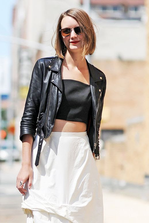 Le Fashion Blog Summer Street Style Black And White Look Sunglasses Crop Top Ruched Skirt Cropped Leather Jacket Via British Vogue