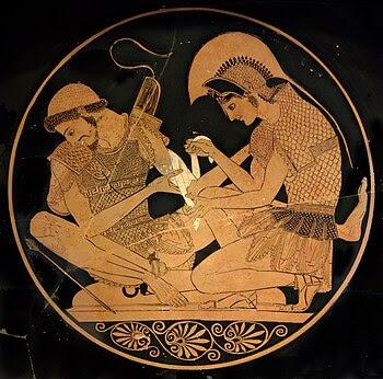 εσωτερική άποψη: Ο Αχιλλέας επιδένει το τραύμα του Πάτροκλου