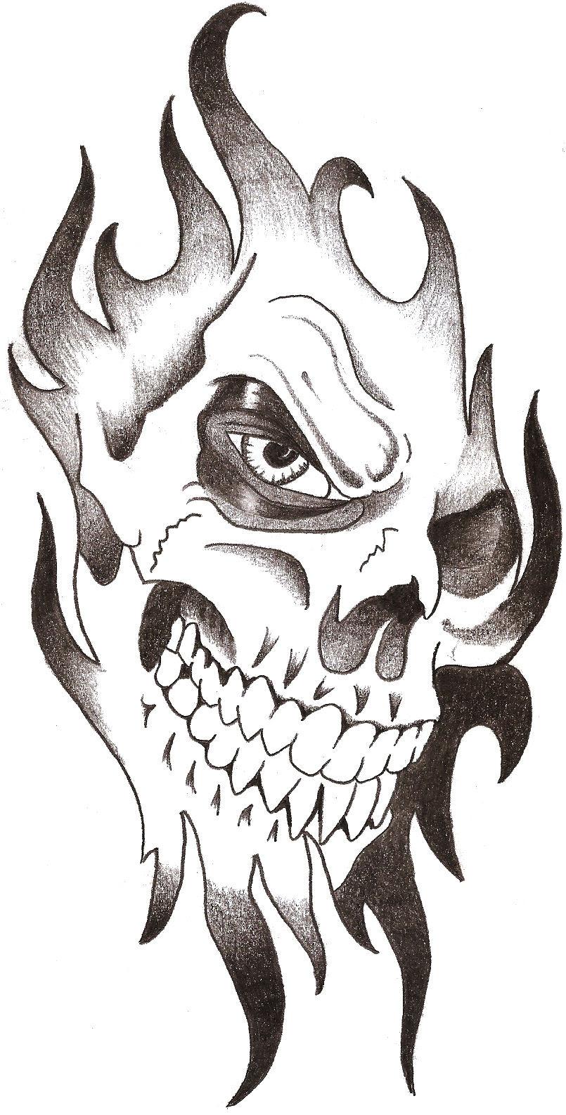 New Black Tribal Skull Tattoo Design