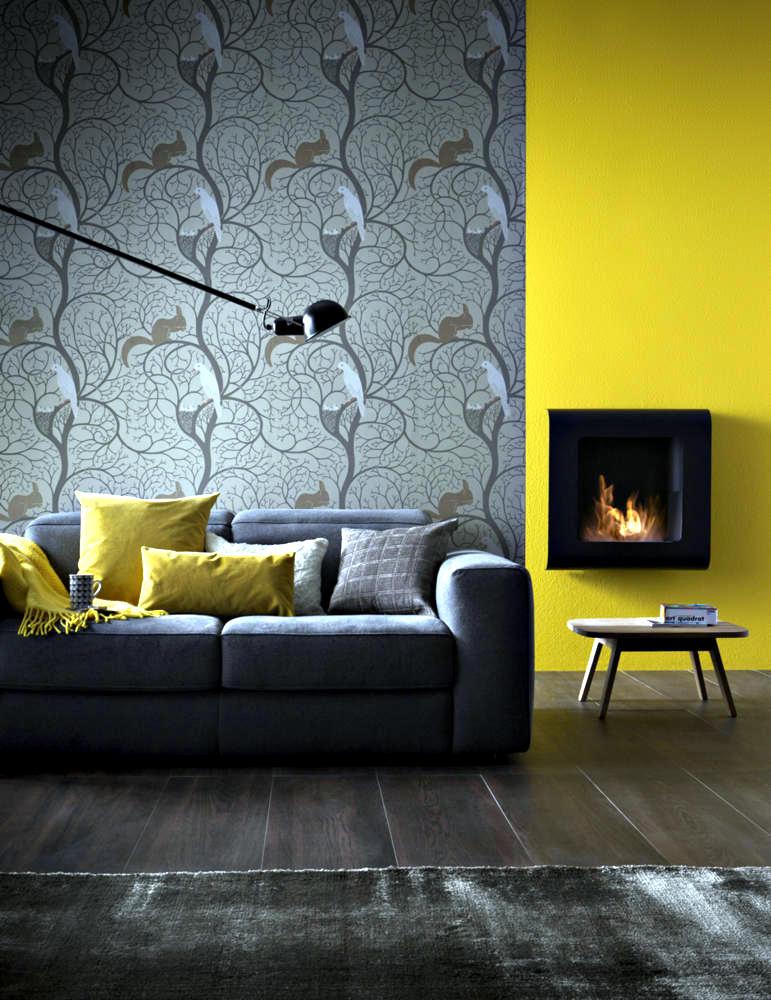 small fireplace wall before mustard yellow wall 0 628
