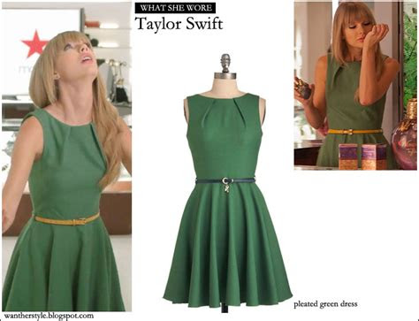 wore taylor swift  green pleated modcloth