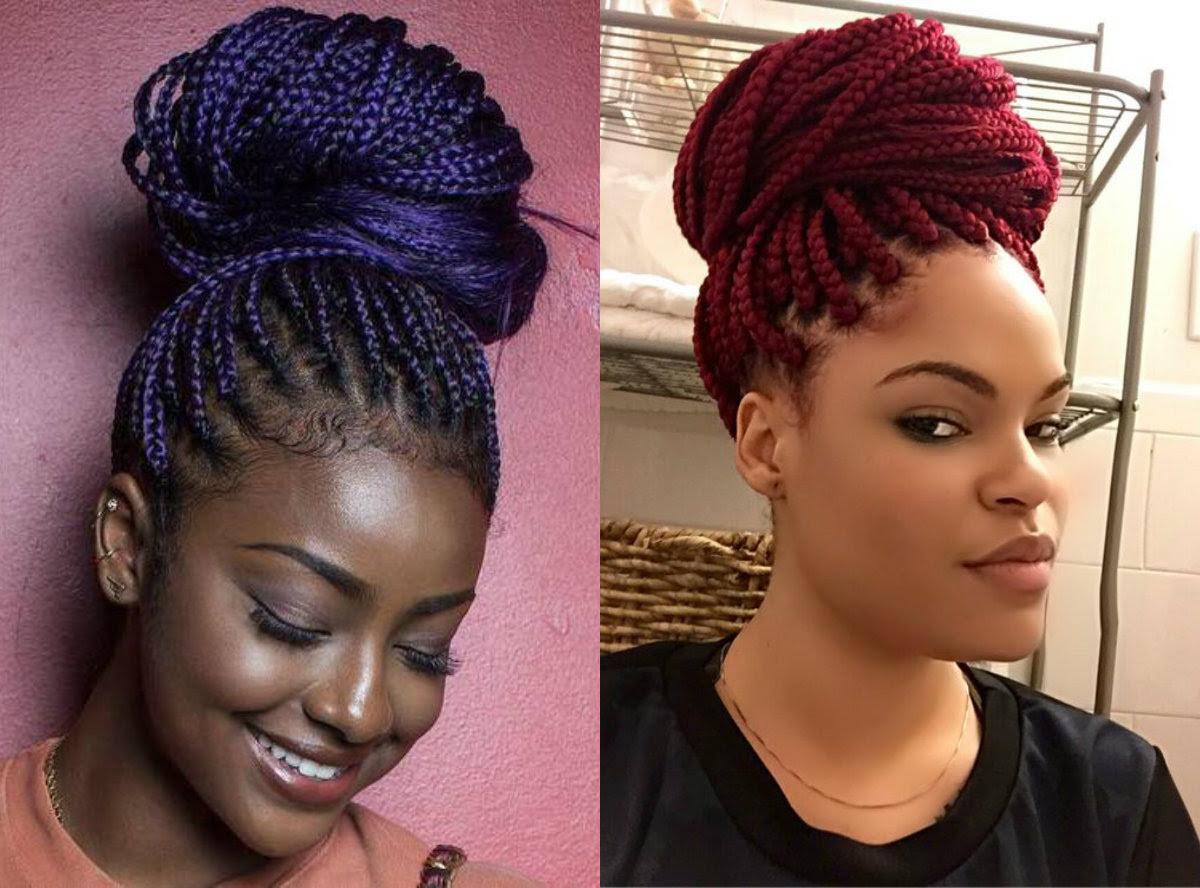 Box Braids Bun Hairstyles You Will Swear With  Hairstyles, Haircuts and Hair Colors On