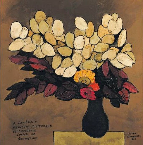 stilllifequickheart:  Oswaldo Guayasamin Bouquet of Flowers (signed to Danielle and Francois Mitterand) 1989