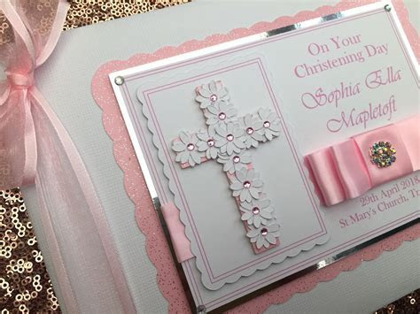 Personalised Baby Girl Christening Guest Book Album