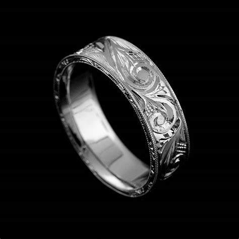 Vintage Replica Engraved Men's Wedding Ring 6mm Gold