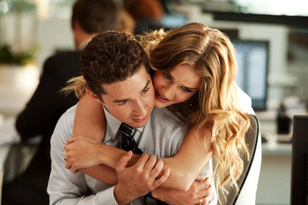 Sam Witwicky (Shia LaBeouf) and Carly (Rosie Huntington-Whiteley) share a moment in TRANSFORMERS: DARK OF THE MOON.