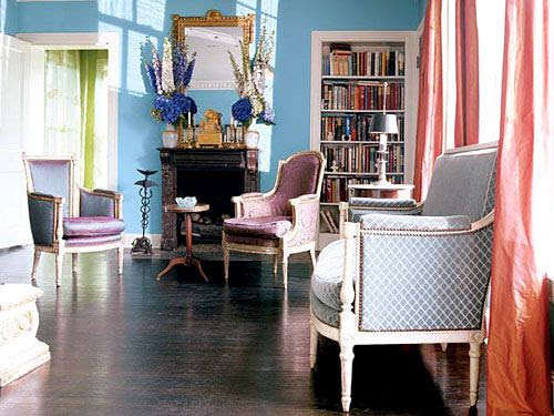 Parlor - Dark Floors, Bold Accents: I'm so in love with this photo: The salmon+robin's egg combination, the soft purple chairs, the peek of green in the other room.