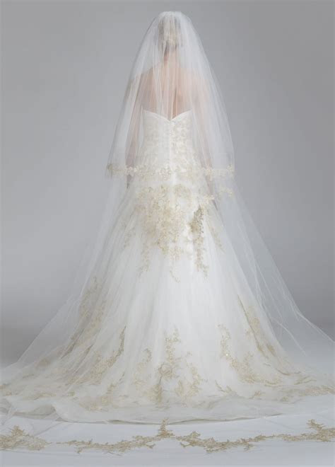 Oleg Cassini Gold Lace Two Tier Cathedral Veil   David's