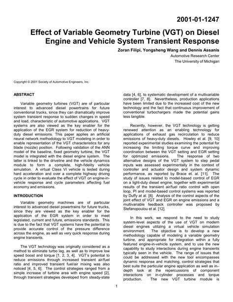 (PDF) Effect of Variable Geometry Turbine (VGT) on Diesel