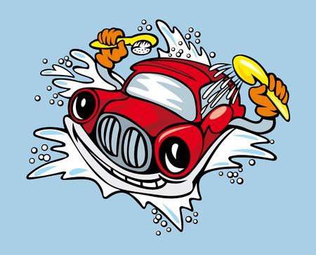 Cartoon Auto mit Schwamm und Shampoo zum Reinigen und Waschen Service-Design Stockfoto - 13009532