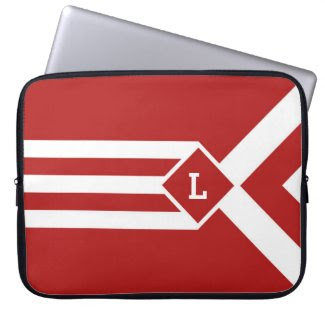 White Stripes and Chevrons on Red with Monogram Laptop Computer Sleeve