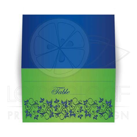 Folded Place Cards, Escort Cards   Royal Blue, Lime Green