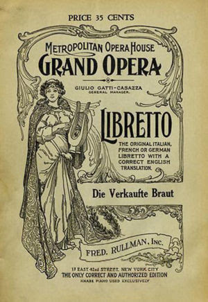 Cover page of the Libretto of The Bartered Bri...