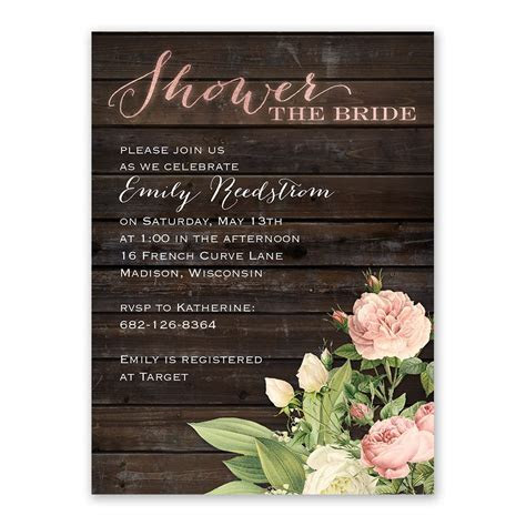 Rustic Floral Bridal Shower Invitation   Ann's Bridal Bargains