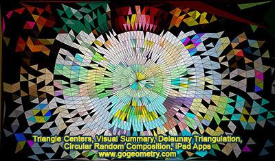 Geometric Art of Triangle Centers, Visual Summary, Delaunay Triangulation, Circular Random Composition, iPad Apps