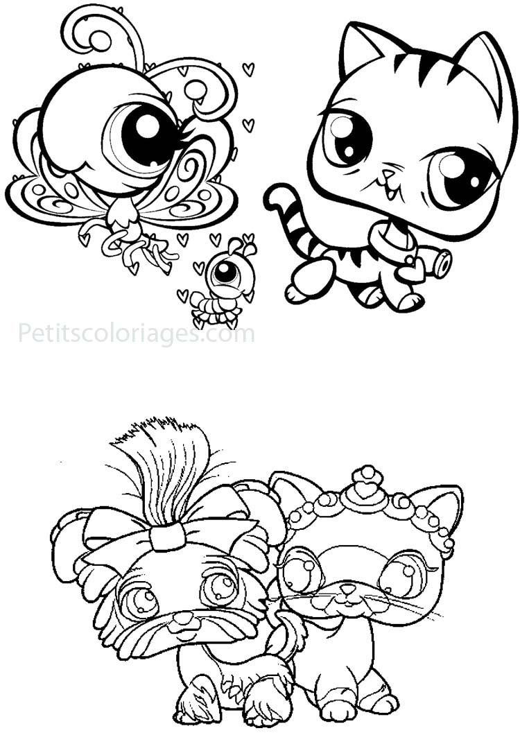 Petits coloriages petshop chenille papillon chien chat