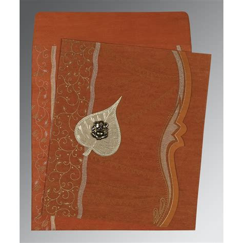 BURNT ORANGE SHIMMERY EMBOSSED WEDDING CARD : W 8210D