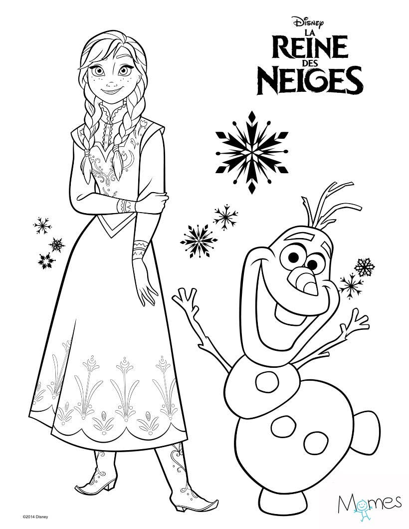 Coloriage Reine des Neiges Anna et Olaf Imprimer