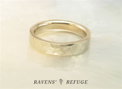 palladium white gold wedding ring ? hand hammered wedding