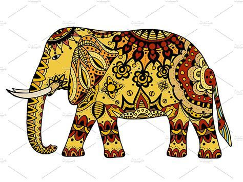 decorated Indian Elephant ~ Graphic Objects ~ Creative Market