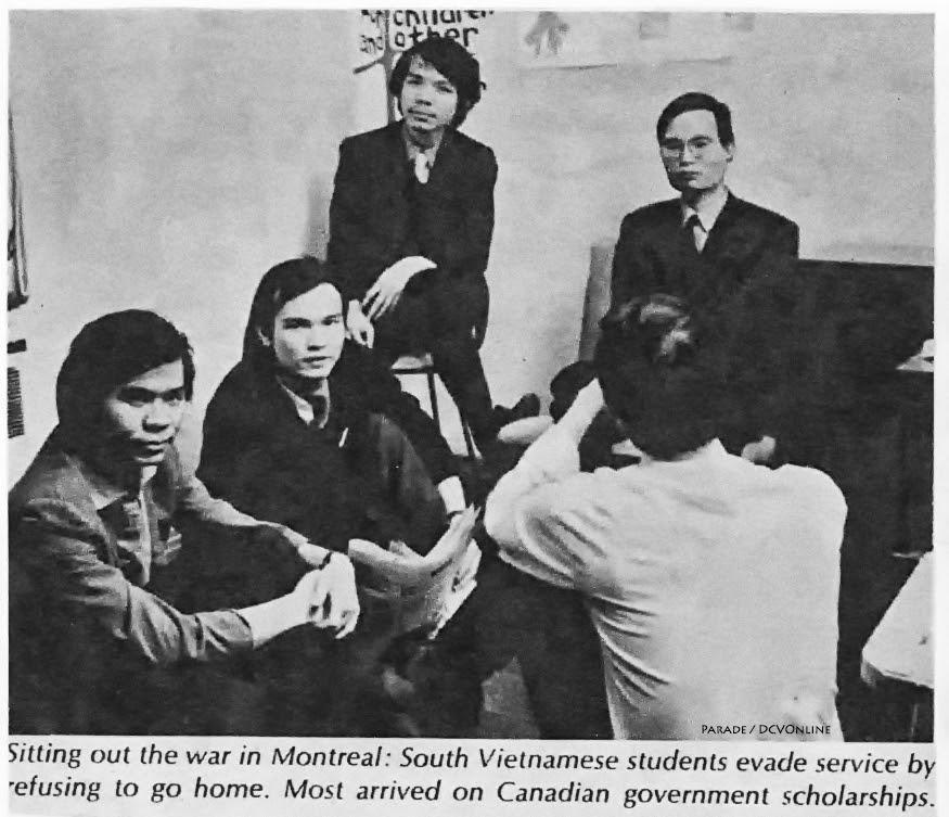 """Sinh viên """"yêu nước"""" trốn quân dịch không về nước: (từ trái qua phải): Lương Châu Phước, Đỗ Đức Viên, Trần Tuấn Dũng, và Nguyễn Văn Nhã. 1970. Nguồn: Tạp chí PARADE/Washington Post June 14, 1970"""
