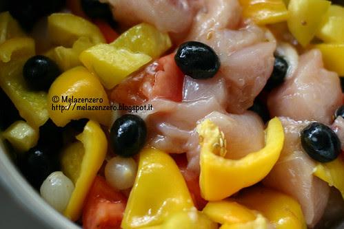 Pollo marinato alle verdure