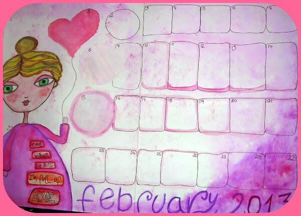 calendario di febbraio mixed media