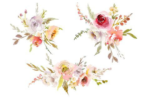 Watercolor Pink White Red Flowers PNG Collection