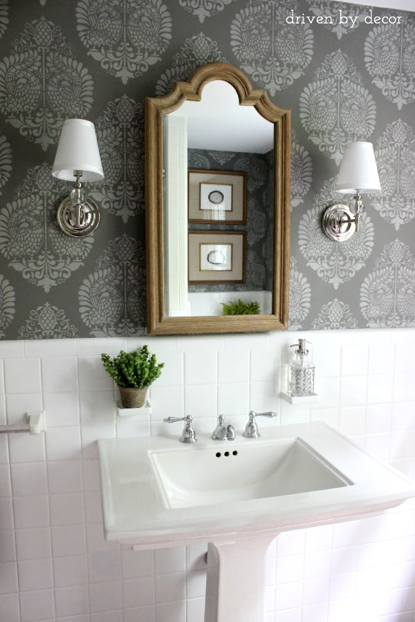 Driven by Decor - Stenciled wall in Benjamin Moore Chelsea Gray