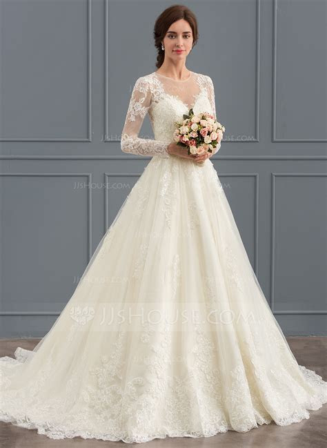 Ball Gown Scoop Neck Court Train Tulle Lace Wedding Dress