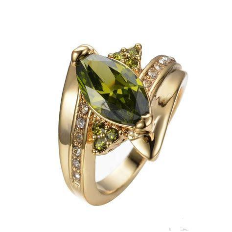 Jewelry CZ Ring Size 8/9 Green Peridot Women's 10Kt Yellow