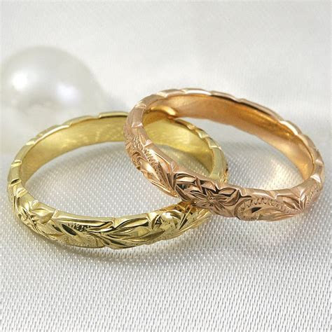 14k Gold Hand Engraved Wave Edge Ring with Hawaiian Old