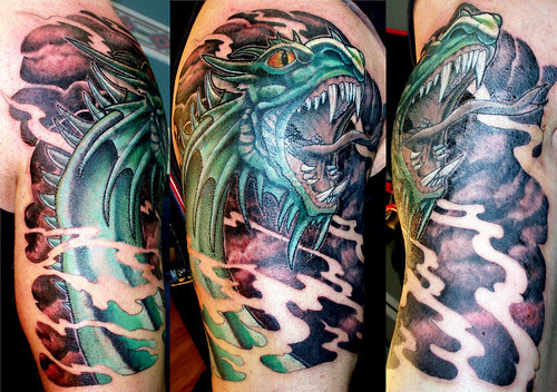 Western Dragon Sleeve Tattoo 3/4 Sleeve Coverup by Vince Wishart