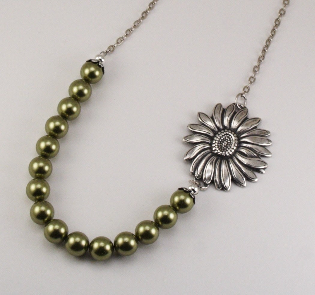 Vintage Style Sunflower Bloom Necklace - Chartreuse Green Pearls and Antique Silver