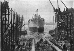The Launching of a Ship at the Great Naval Yards, Newark, N.J.