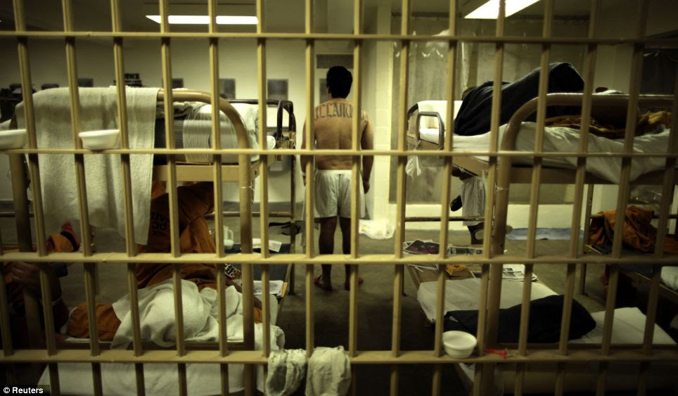 An inmate stands in his overcrowded cell at the Orange County jail in Santa Ana, California. The state's prisons are so overcrowded that they are said to provide inadequate mental and health care