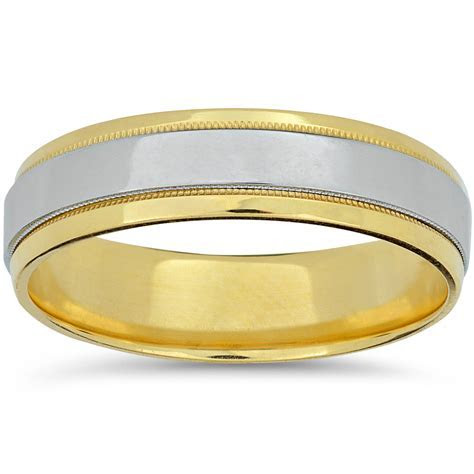 Mens Platinum & 18k Yellow Gold Two Tone Wedding Band High