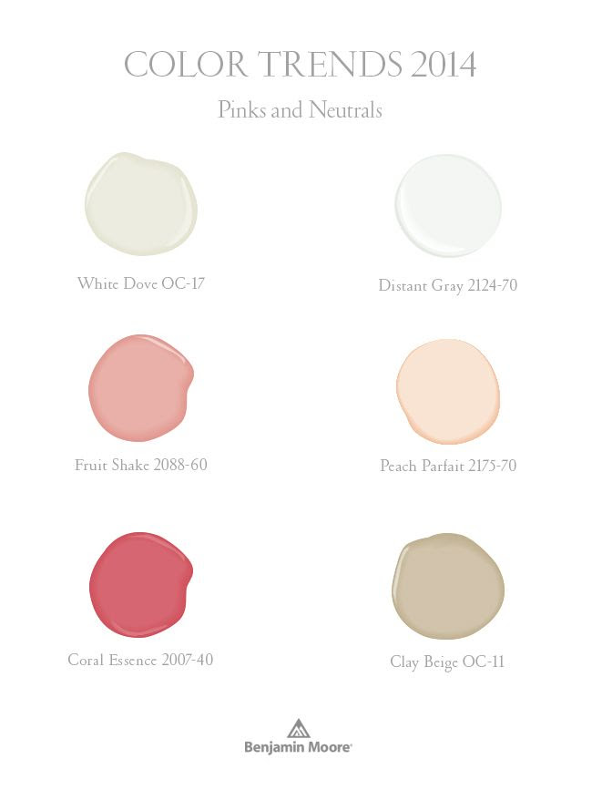 Benjamin Moore Color Trends 2014:  Pinks and Neutrals