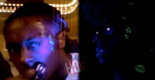 Lil Wayne Face And Neck Black Light Tattoo