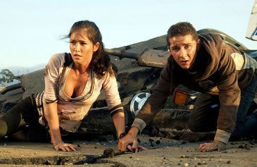 Megan Fox and Shia LaBeouf in TRANSFORMERS: The Movie.