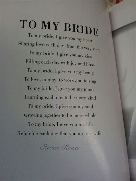 'To my bride' poem; could be used for the groom's vows