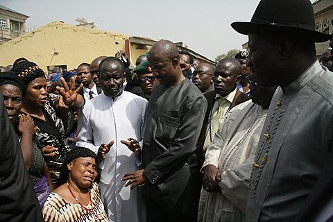 Nigerian President Goodluck Jonathan visiting relatives of victims of the St. Theresa Catholic Church that was bombed on December 25, 2011. Dozens were killed in a series of attacks blamed on Boko Haram. by Pan-African News Wire File Photos