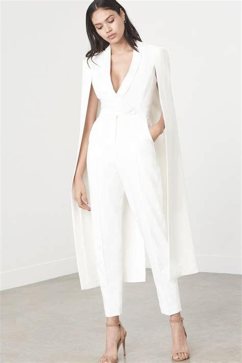 lavish alice  white tailored cape jumpsuit  style