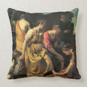 Diana and her nymphs by Johannes Vermeer throwpillow