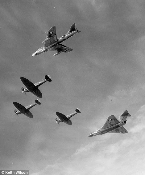 Black and whtie: Spitfires PR XIX PM631, PS853 and PS915 fly from Duxford to Biggin Hill with a 46 Hawker Hunter F5 of 41 Squadron and Gloster Javelin FAW1 from 46 Squadron
