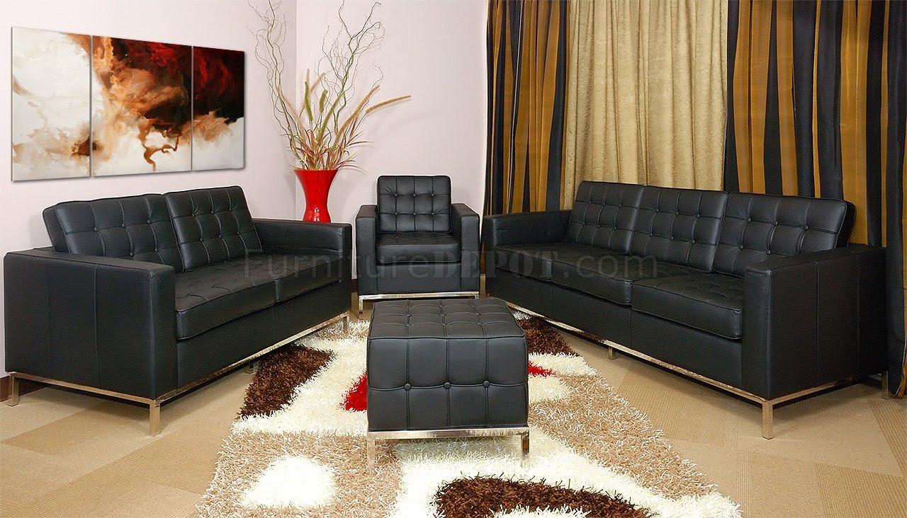 Black Full Leather 3pc Living Room Set Wfree Ottoman